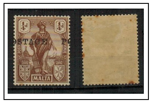 MALTA - 1926 1/4d brown mint (tone spots) with MISPLACED OVERPRINT.  SG 143.