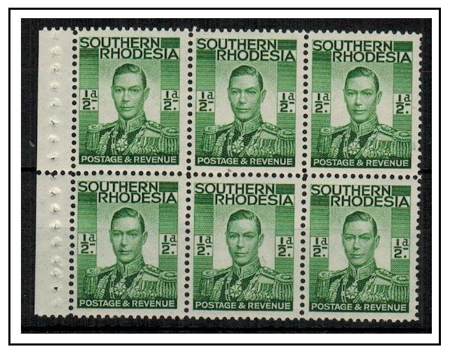 SOUTHERN RHODESIA - 1937 1/2d green U/M BOOKLET PANE of six.  SG 40.