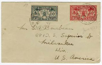NEW HEBRIDES - 1937 cover to USA.