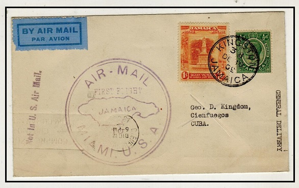 JAMAICA - 1930 first flight cover to Cuba.