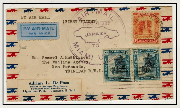 JAMAICA - 1930 first flight cover to Trinidad.