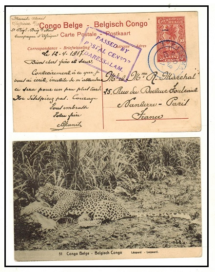 TANGANYIKA - 1912 10c Belgian Congo PSC to France censored and used at KIGOMA.