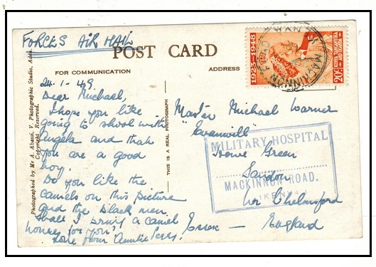 K.U.T. - 1949 use of postcard to UK with 20c