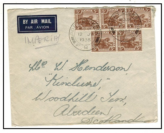 MALAYA (FMS) - 1935 25c rate cover to UK used at PORT DICKSON.