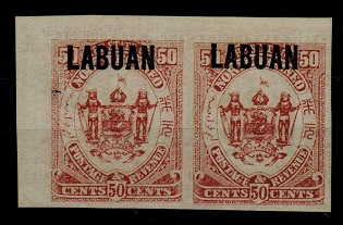 LABUAN - 1896 50c maroon IMPERFORATE PLATE PROOF.