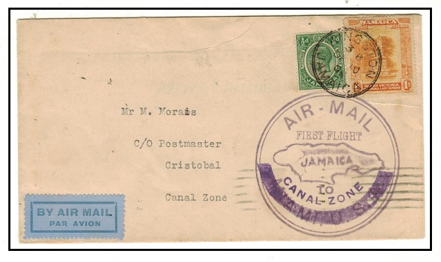 JAMAICA - 1930 first flight cover to Cristobal in Canal Zone.