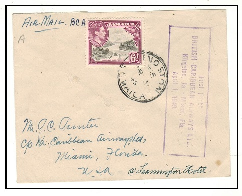 JAMAICA - 1949 6d rate first flight cover to USA by Caribbean Airways.