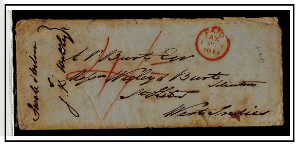 ST.KITTS - 1854  4/- rated inward stampless cover (faults) from UK.
