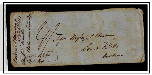 ST.KITTS - 1852 2/- rated inward stampless cover (faults) from UK.
