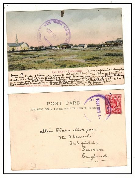 ORANGE RIVER COLONY - 1904 1d rate postcard use to UK used at