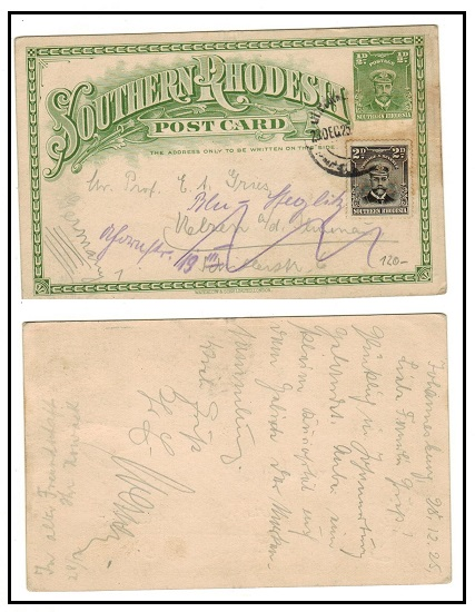 SOUTHERN RHODESIA - 1924 1/2d green PSC uprated to Germany and used at JOHANNESBURG.  H&G 1.