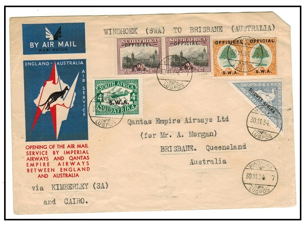 SOUTH WEST AFRICA - 1934 first flight cover to Australia.