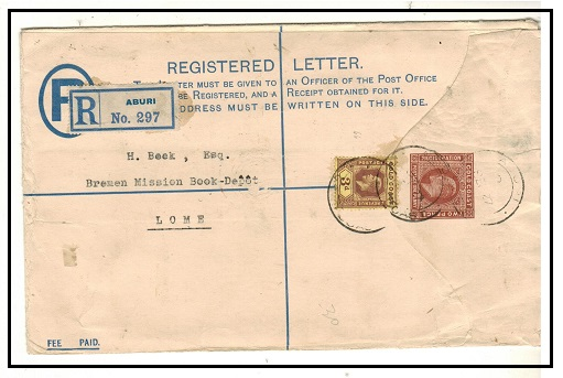 GOLD COAST - 1904 2d+1d brown RPSE to Togo used at ABURI.  H&G 8b.