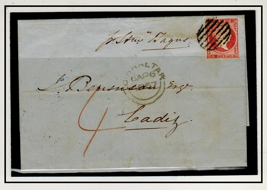 GIBRALTAR - 1857 4c Spanish adhesive used on cover to Cadiz from SAN ROQUE (Gibraltar).