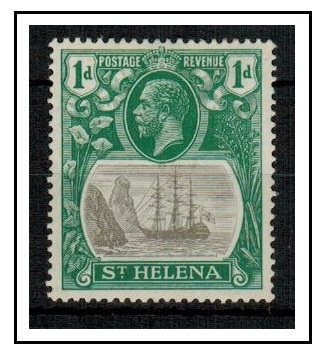 ST.HELENA - 1922 1d grey and green fine mint showing the BROKEN MAST.  SG 98a.