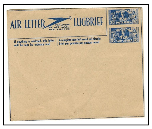 SOUTH AFRICA - 1944 3d+3d blue postal stationery air letter unused.  H&G 1.