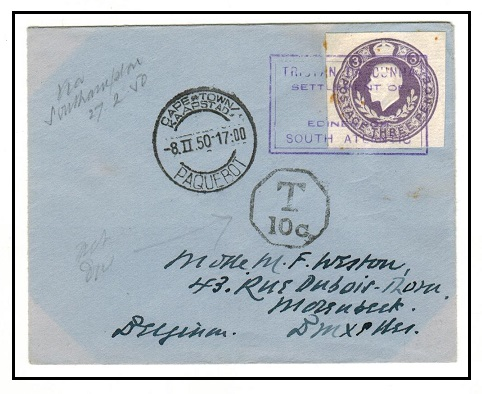 TRISTAN DA CUNHA - 1950 cover to Belgium with GB 3d cut out struck by SG type IX cachet.