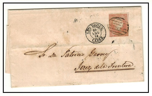 GIBRALTAR - 1858 4c brownish red adhesive of Spain on entire from SAN ROQUE (Gibraltar).