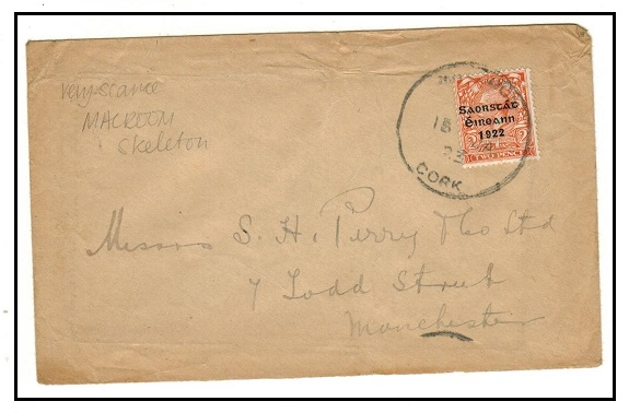 IRELAND - 1923 2d rate cover cancelled by skeleton MACROOM/CORK cds.