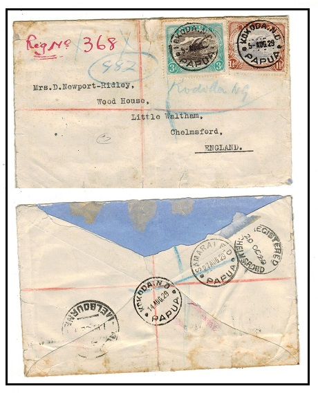 PAPUA - 1929 4 1/2d rate registered cover to UK (faults-missing back flap) used at KOKODA N.D./PAPUA