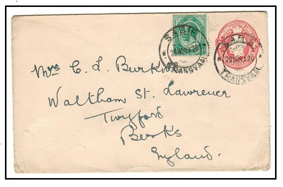 SOUTH AFRICA - 1913 1d red PSE uprated to UK as SABIE/TRANSVAAL.  H&G 1a.