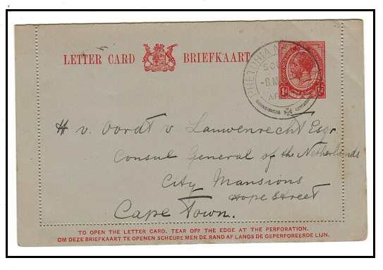 SOUTH AFRICA - 1913 1d red stationery letter card to Cape Town used at PRETORIA NORTH RAIL.  H&G 1.