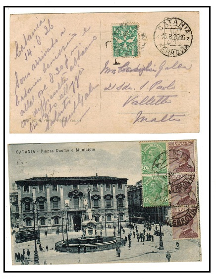 MALTA - 1926 inward underpaid postcard from Italy with 1/2d