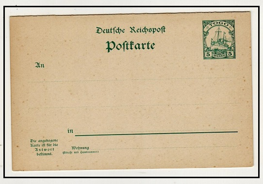 TOGO - 1900 5pfg + 5pfg green PSRC unused.  H&G 12.