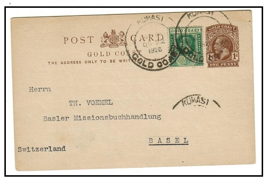 GOLD COAST - 1922 1d brown PSC uprated to Switzerland used at KUMASI/GOLD COAST.  H&G 10.