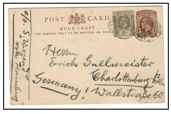 GOLD COAST - 1922 1d brown PSC uprated to Germany used at SECONDEE/GOLD COAST.  H&G 10.