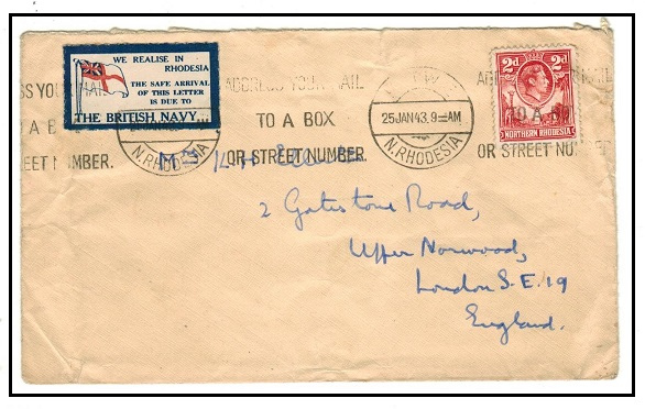 NORTHERN RHODESIA - 1943 2d rate cover to UK from KITWE with WE REALISE IN RHODESIA patriotic label.