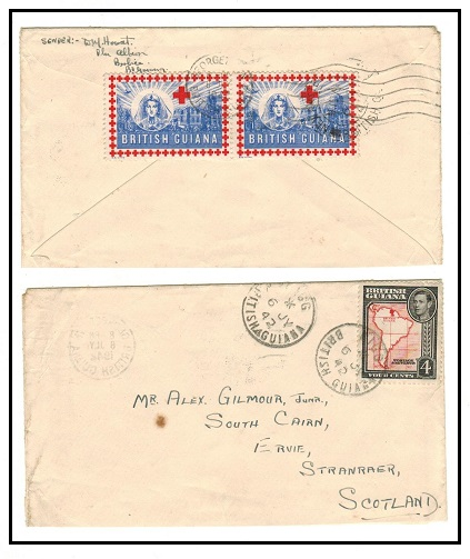 BRITISH GUIANA - 1942 4c rate cover to UK used at NIGG with
