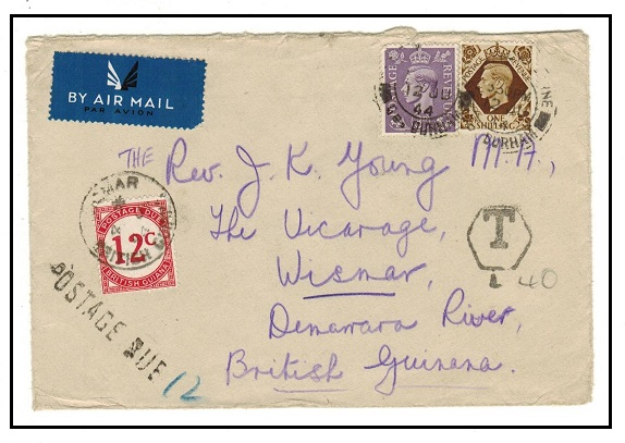 BRITISH GUIANA - 1944 inward underpaid cover from UK with 12c