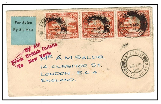 BRITISH GUIANA - 1938 36c rate cover to UK struck BY
