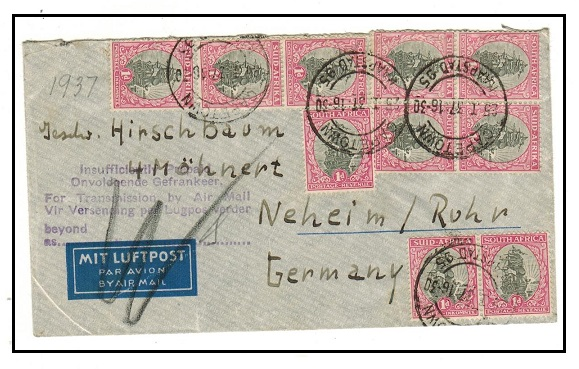 SOUTH AFRICA - 1937 10d rate cover to Germany struck