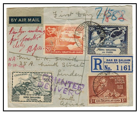 SOUTH AFRICA - 1949 inward registered