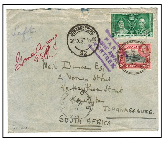 SOUTH AFRICA - 1937 inward cover from KUT struck
