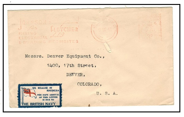 SOUTHERN RHODESIA - 1941 3d red meter mark cover to USA from BULAWAYO with patriotic label.