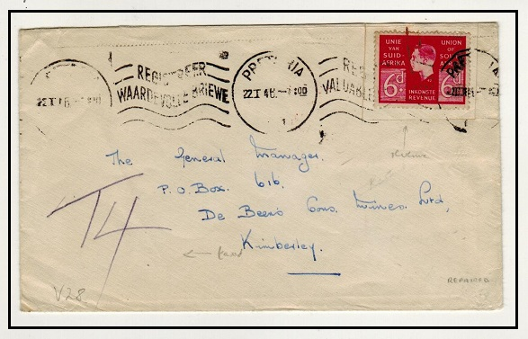 SOUTH AFRICA - 1946 6d REVENUE use (fault) on local cover to Kimberley.
