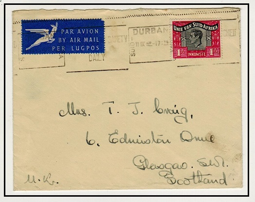 SOUTH AFRICA - 1952 1/- REVENUE use on cover to UK.