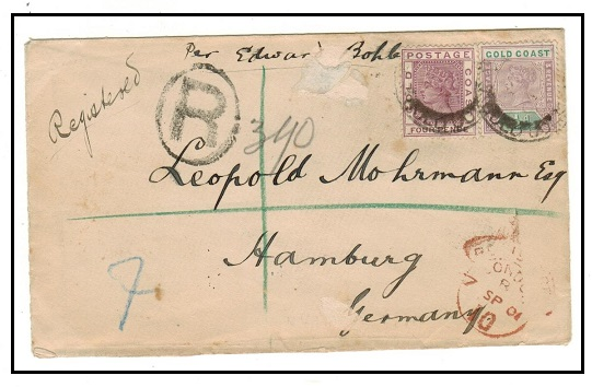 GOLD COAST - 1901 4 1/2d rate registered cover to Germany.