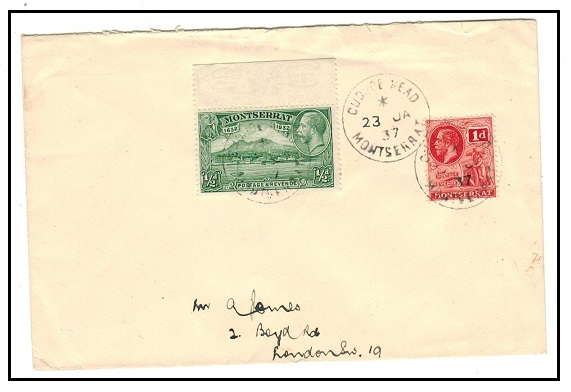 MONTSERRAT - 1937 1 1/2d rate cover to UK used at CUDUCE HEAD/MONTSERRAT.