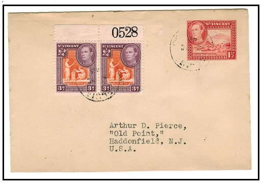ST.VINCENT - 1938 1 1/2d red PSE uprated to USA used at BEQUIA/ST.VINCENT.  H&G 2.