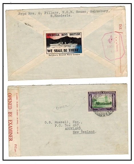 SOUTHERN RHODESIA - 1942 RHODESIA BUYS BRITISH patriotic label on censored cover to New Zealand.