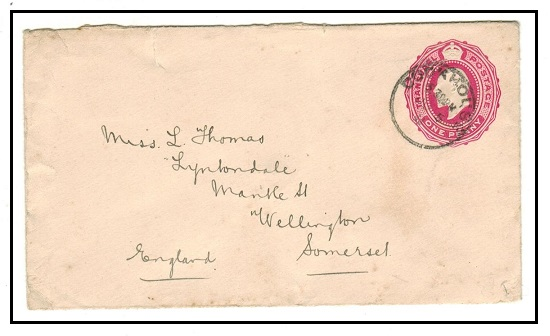 CAPE OF GOOD HOPE - 1902 1d rose PSE of Transvaal addressed to UK and used at COOK HOUSE. H&G 4.