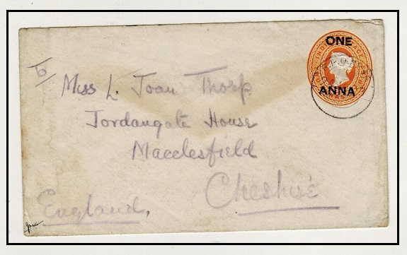 SOMALILAND - 1903 1a on 2a6p orange Indian PSE to UK used at FPO No.46. Ex Somaliland Campaign.