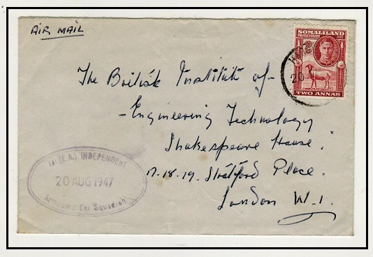 SOMALILAND - 1947 2a rate cover to UK used by a member of the