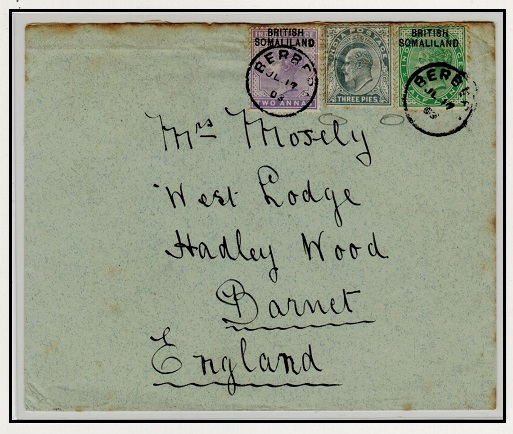 SOMALILAND - 1903 combination cover to UK with Indian stamp unaccepted at BERBERA.