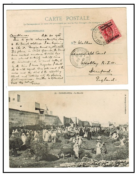 MOROCCO AGENCIES - 1908 10c on 1d rate postcard use to UK used at CASABLANCA.