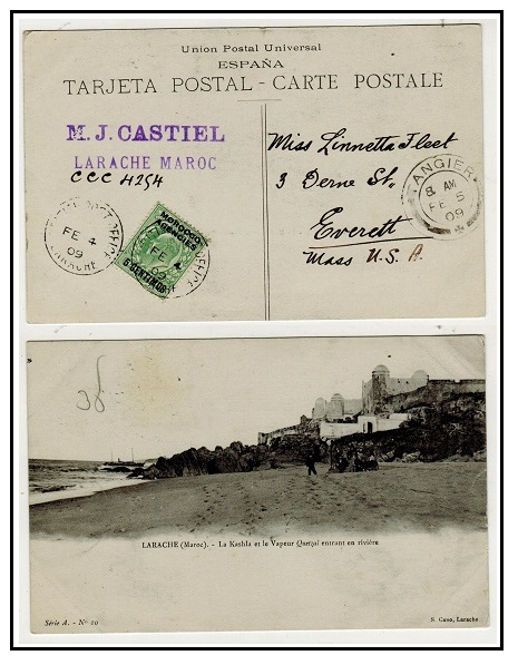 MOROCCO AGENCIES - 1909 5c on 1/2d rate postcard use to USA used at LARACHE.